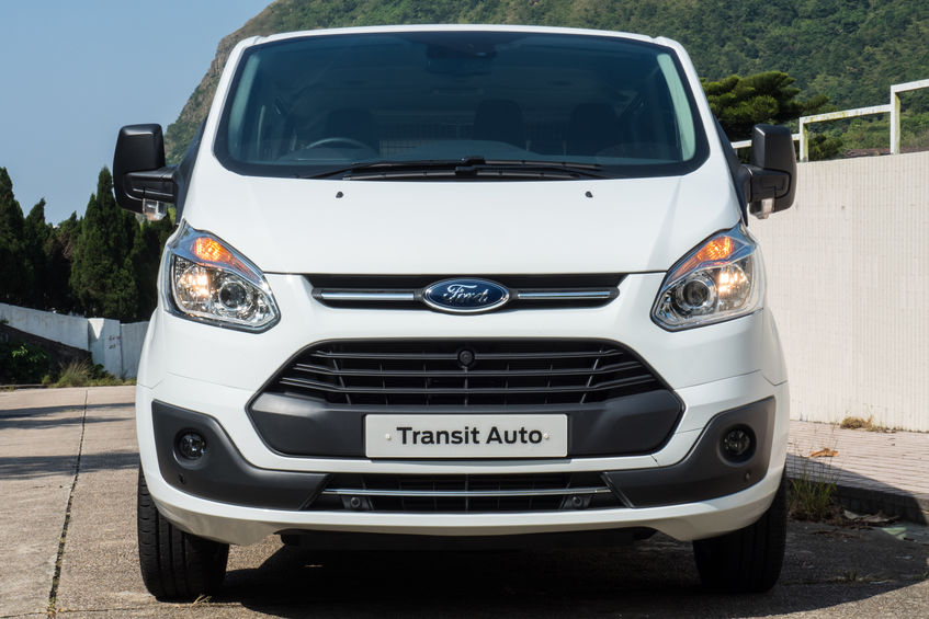 Ford Transit sitting in a showroom